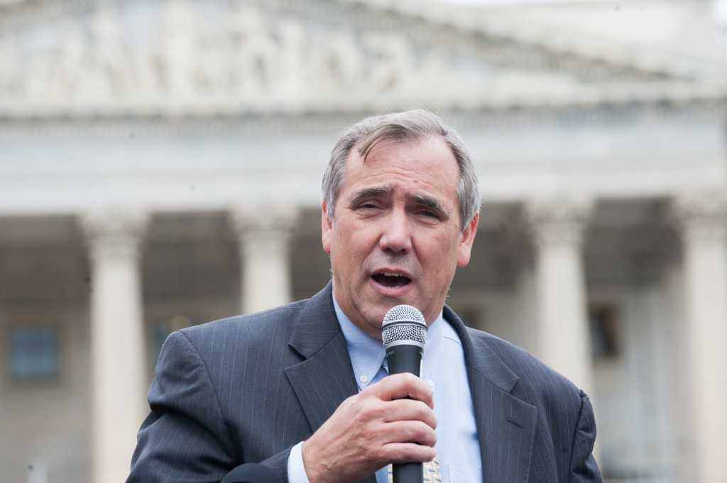 """Senator Merkley addressing Rally for Children audience."""