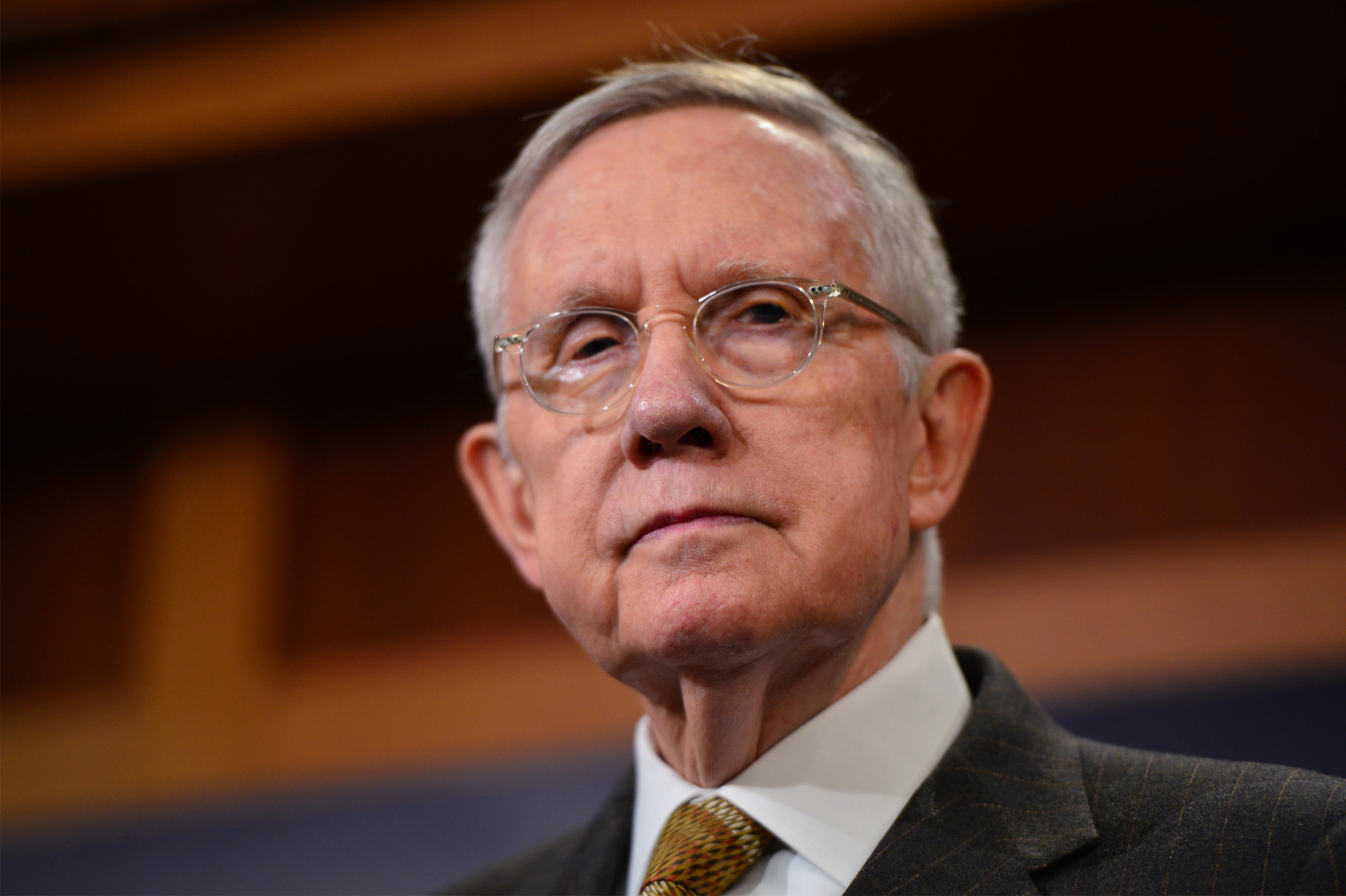 """Senator Reid at the press conference."""