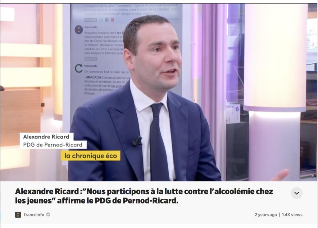 Alexandre Ricard video interview screenshot