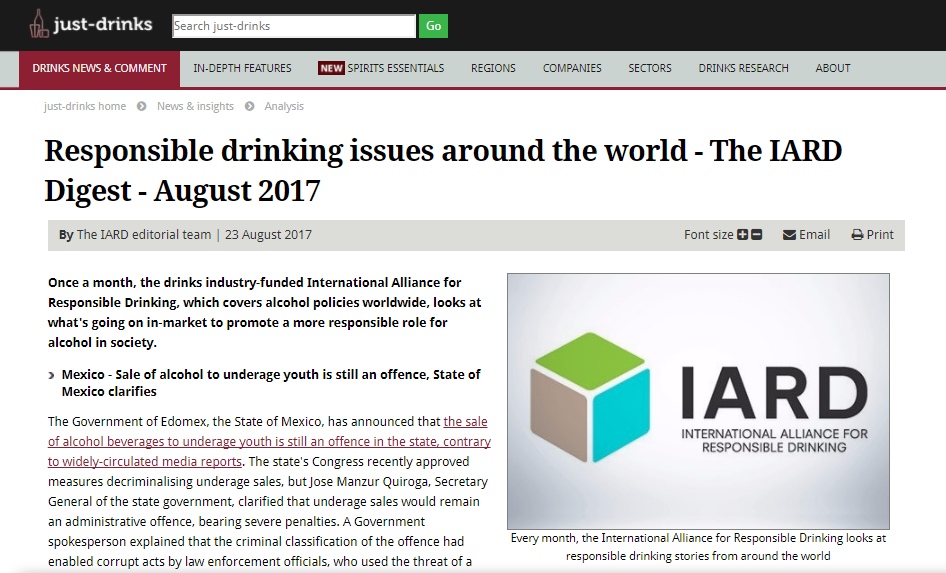 IARD Monthly News Digest for Just-Drinks