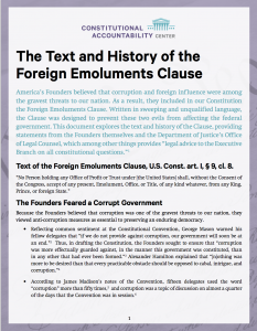 The Text and History of the Foreign Emoluments Clause