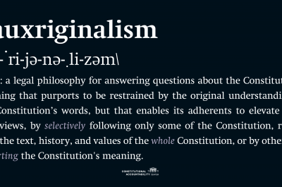 Fauxriginalism definition graphic.