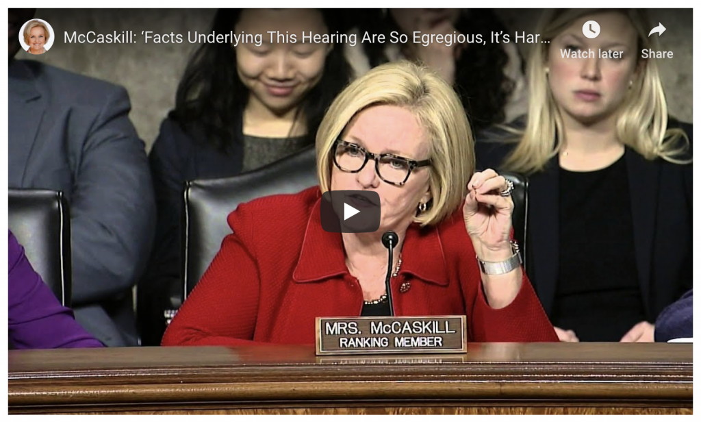 Screenshot of Senator McCaskill Video
