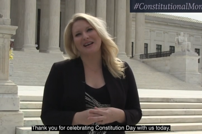 Screenshot of Elizabeth Wydra's Constitution Day video.